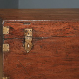 Antique Victorian Anglo Indian Colonial Campaign Teak & Brass Chest / Trunk (Circa 1870)