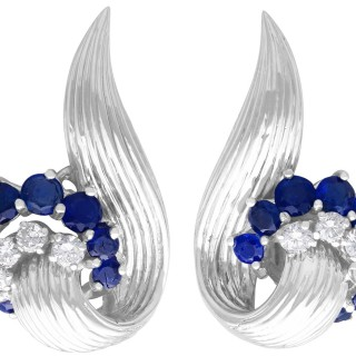 2.05ct Sapphire and 0.65ct Diamond, 18ct White Gold Stud Earrings - Vintage (1958)