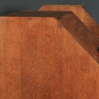 Antique English Art Deco Oak Octagonal Bedside Cabinet Table Nightstand (Circa 1941)