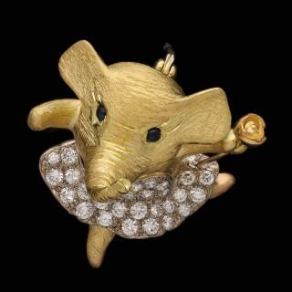 Wolfe Emerald Diamond 18ct Gold Novelty Elephant Brooch