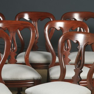 Antique English Victorian Set of 12 Twelve Mahogany Balloon Spear Back Dining Chairs (Circa 1860)
