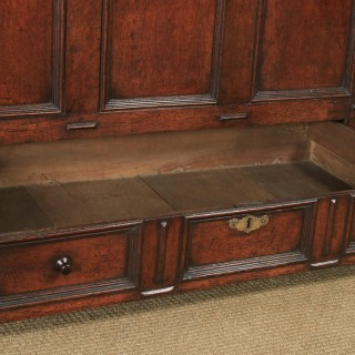 Antique English 18th Century Oak Geometric Mule Chest / Blanket Box / Trunk with Drawer (Circa 1710)