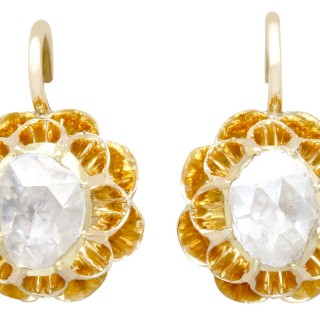 1.36ct Diamond and 14ct Yellow Gold Drop Earrings - Antique Circa 1900