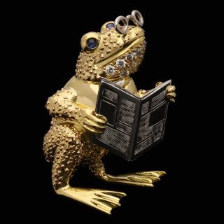 Wolfe Diamond Sapphire 18 Carat Gold Whimsical Toad Brooch