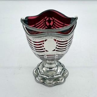Antique George III Sterling Silver Sugar Basket London 1780 Hester Bateman