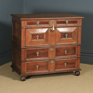 Antique English 17th Century William & Mary Oak & Fruitwood Geometric Two-Part Chest of Drawers (Circa 1690)