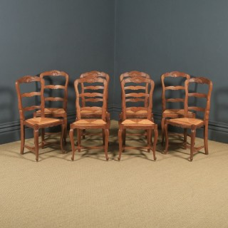 Antique French Set of 8 Eight Louis XV Style Oak Ladder Back Rush Seat Kitchen Dining Chairs (Circa 1920)