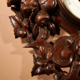 An Unusual Large Very Fine Carved Oak Barometer.