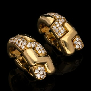 Bulgari Stylish Pair Vintage Gold Diamond Hoop Earrings