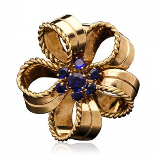 Cartier Vintage 18 Carat Gold Sapphire Ribbon Bow Brooch