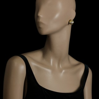 Bulgari Vintage Pair 18ct Yellow Gold Diamond Stepped Domed Earrings