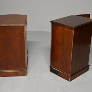 Pair of Victorian Mahogany Bow-Front Bedside Cabinets