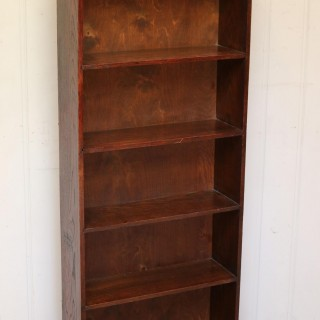 Tall Slim Open Oak Bookcase