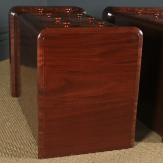 Antique English Pair of Victorian Figured Mahogany Bedside Chests / Tables / Nightstands (Circa 1860)