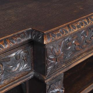 19th Century Flemish Carved Oak Open Breakfront Bookcase