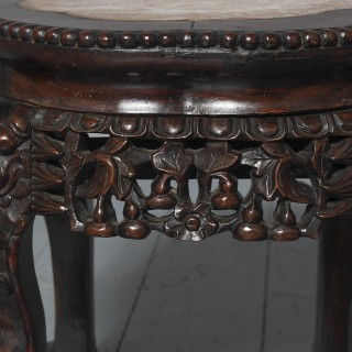 Chinese Qing Dynasty Huanghuali Marble Top Table