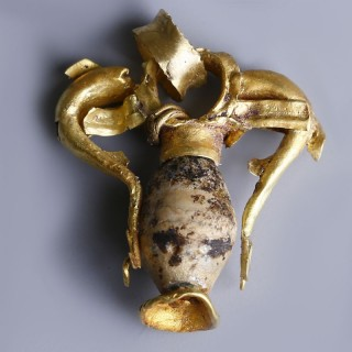 Greek Hellenistic Gold Amphora Dolphin Pendant