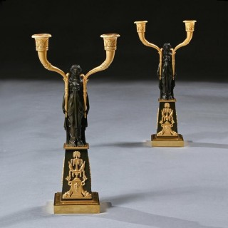 Important Pair of Early Empire French Gilt-bronze Candelabra Attributed to Claude Galle
