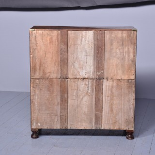 Burr Walnut Victorian Campaign Chest of Drawers
