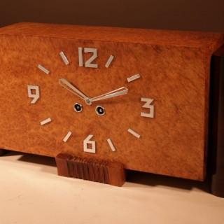 A French Art Deco Amboyna And Rosewood Beautiful Mantel Clock