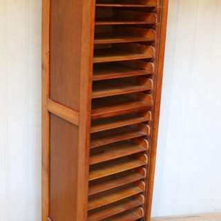 French Oak Tambour Front Filing Cabinet