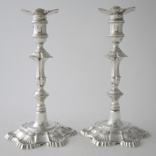 Antique George III Cast Sterling Silver Candlesticks - 1760