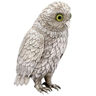 German Sterling Silver Table Owl - Antique Circa 1910