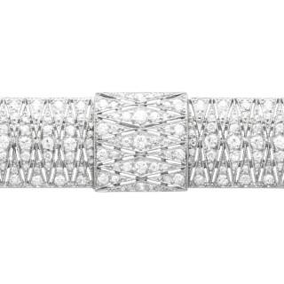 3.05ct Diamond and Platinum Brooch - Art Deco - Antique Circa 1915