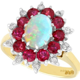 0.65ct Opal, 1.10ct Ruby and 0.22ct Diamond, 18ct Yellow Gold Dress Ring - Vintage 1984