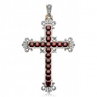 Antique Victorian Garnet Diamond Gold Silver Pendant Cross