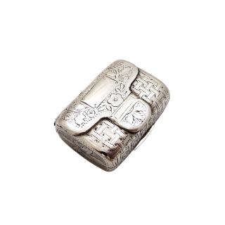 Antique Georgian Sterling Silver Purse / Bag Vinaigrette c1822