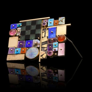 Earl Pardon Striking Modernist Silver Gold Gemstone Enamel Brooch