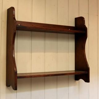 Oak Two Tier Wall Shelves