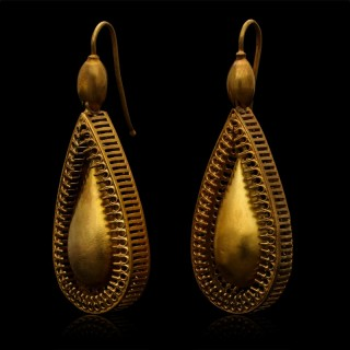 Antique Victorian Gold Articulated Drop Earrings
