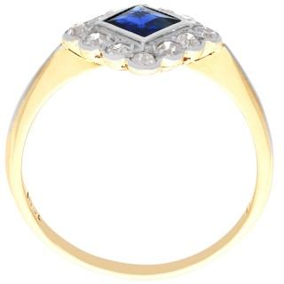 0.48ct Sapphire and 0.38ct Diamond, 18ct Yellow Gold Dress Ring - Antique Circa 1925