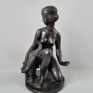 Blanche Gilroy Roberts (1871-1954) Leda and the swan bronze 1920's