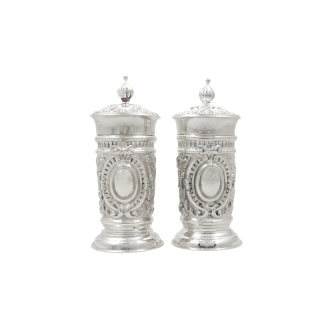 Pair of Antique Victorian Sterling Silver Pepper Pots 1891