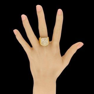 Cartier- Vintage Gold & Diamond Lincoln Motor Signet Ring circa 1985
