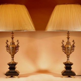 An Elegant Pair Of Very Stylish Lamps.