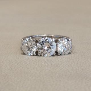 Diamond three stone ring, 1.35ct ,1.05ct, 1.04ct F colour VS