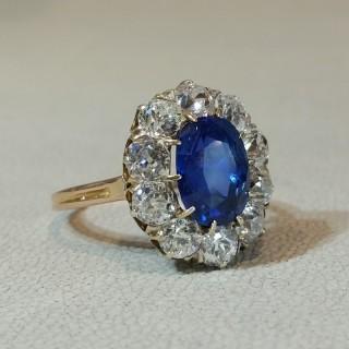 Antique sapphire diamond cluster ring 4.00 carats unheated Ceylon sapphire