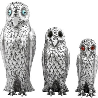 Sterling Silver Owl Pepperettes - Antique Victorian