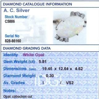 5.81ct Opal and 0.30ct Diamond, 9ct Yellow Gold Dress Ring - Vintage Circa 1960
