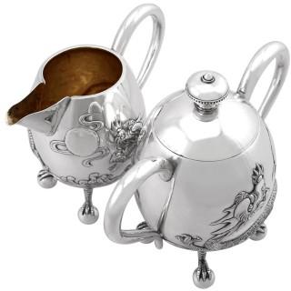 Chinese Export Silver Three Piece Tea Service - Antique Circa 1920