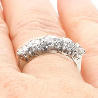 1.37ct Diamond and 18ct White Gold Five Stone Ring - Antique Circa 1920