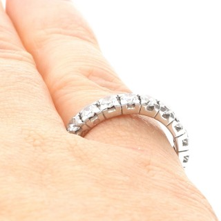 1.62ct Diamond and 18ct White Gold Full Eternity Ring - Vintage French Circa 1980