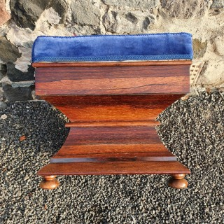 Early Victorian Shaped Rosewood Ottoman