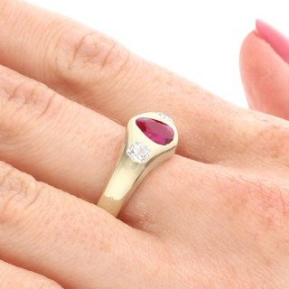0.83ct Ruby and 0.40ct Diamond, 18ct Yellow Gold Dress Ring - Antique Circa 1930