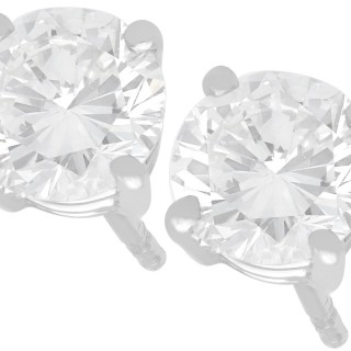 1.41ct Diamond and Platinum Stud Earrings - Vintage and Contemporary