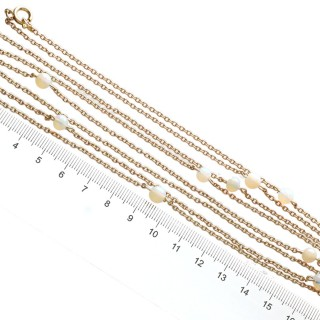 6.76ct Opal and 9ct Yellow Chain Necklace - Antique Circa 1900